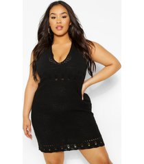 gehaakte mini-jurk met halternek, zwart