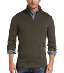 joseph abboud olive 1/4 zip mock neck wool sweater