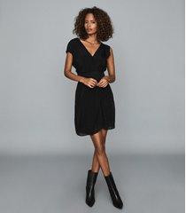 reiss leonora - semi-sheer wrap front dress in black, womens, size 14