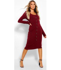 scoop neck button through midi bodycon dress, burgundy