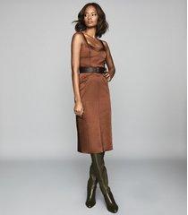 reiss madeleine - structured bodycon dress in chocolate, womens, size 12