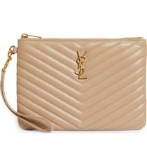 women's saint laurent 'small monogram' print leather wristlet - beige