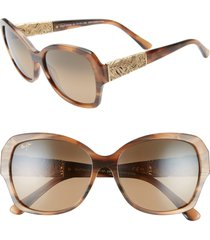 women's maui jim swaying palms 57mm polarizedplus2 butterfly sunglasses - brown and pearl/ yellow gold