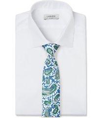 cravatta su misura, lanieri, paisley blu, primavera estate | lanieri