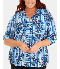 ny collection plus size floral-print zip blouse