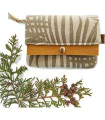 portfel boho mini - beżowy w liście