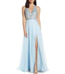 women's mac duggal beaded halter chiffon a-line gown