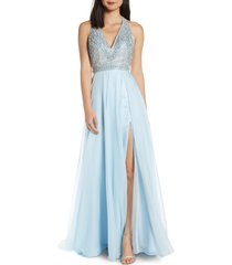 women's mac duggal beaded halter chiffon a-line gown
