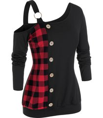 plus size plaid skew neck sweatshirt