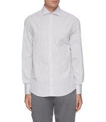 striped spread collar slim fit cotton shirt