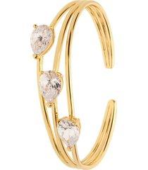 bracciale rigido in ottone dorato con tre zirconi per donna