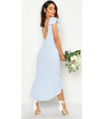 frill detail strappy back fishtail midi dress, pastel blue
