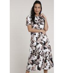 vestido chemise feminino midi estampado de folhagem manga curta off white