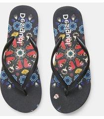 beach sandals printed sole - black - 41