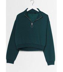 womens get zip done cropped sweatshirt - green