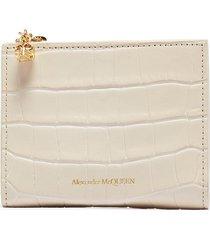 croc embossed leather mini zip wallet