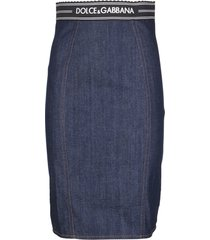 dolce & gabbana navy blue denim skirt