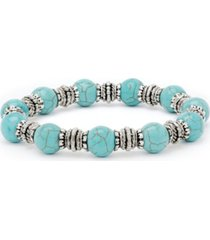 macy's simulated turquoise in fine silver plated 10mm round stretch bracelet
