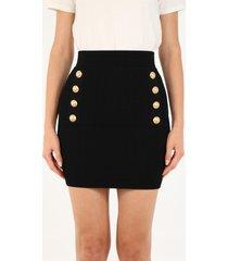 balmain black skirt with buttons