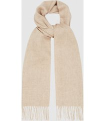 reiss ashton - lambswool cashmere blend scarf in oatmeal, mens