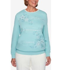 women's missy st. moritz embroidered floral biadere sweatshirt
