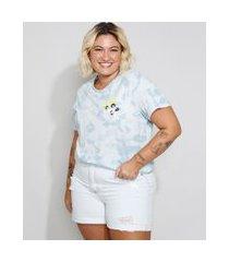 camiseta feminina plus size estampada tie dye lindinha manga curta decote redondo azul