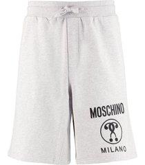 moschino logo print fleece shorts