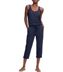 women's michael stars tank style jumpsuit, size medium - blue