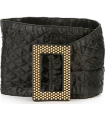 yves saint laurent pre-owned 1980's wide quilted belt - black
