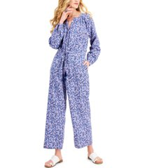 style & co petite drawstring floral-print jumpsuit, created for macy's
