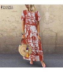vestido camisero estampado floral zanzea para mujer vestido étnico vintage de verano -rojo