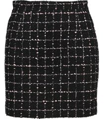 alessandra rich checked cotton blend tweed bouclé mini skirt