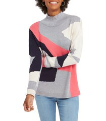 women's nic+zoe the bright way turtleneck sweater, size x-large - pink