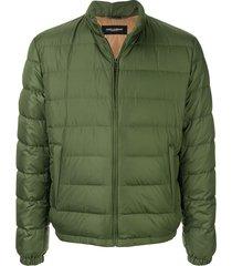 dolce & gabbana high collar padded jacket - green