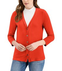 fever ribbed button-down 3/4-sleeve knit top