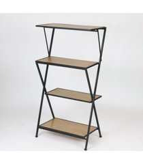 """luxen home modern wood and metal 55.6"""" height four-tier etagere bookcase"""
