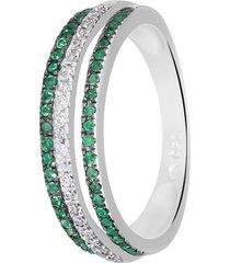 anello in oro bianco, smeraldi 0,23 ct e diamanti 0,12 ct per donna