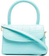 by far mini tote handbag in crocodile print leather