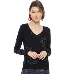 sweater desigual negro - calce regular