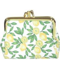 buxton women's lovely lemons pik-me-up triple frame wallet