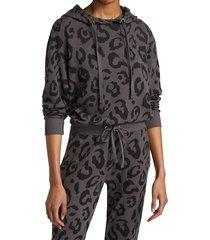 chrldr women's big leopard cropped hoodie - vintage black - size s