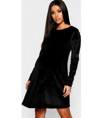 maternity velvet swing dress, black
