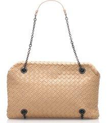 bottega veneta intrecciato chain leather shoulder bag brown, beige sz: m