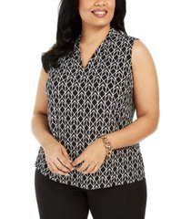 kasper plus size diamond-print sleeveless top