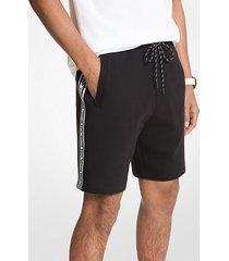 mk shorts in misto cotone con fettuccia con logo - nero (nero) - michael kors