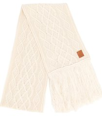 loewe long-length cable-knit scarf - white