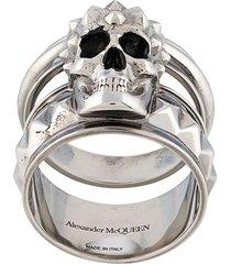 alexander mcqueen skull double ring - silver