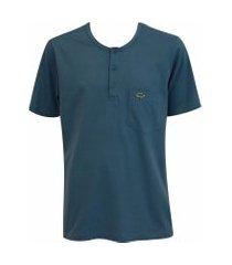 camiseta pau a pique botões azul