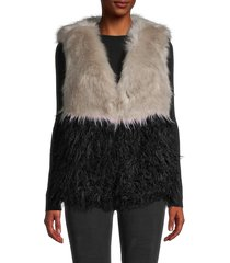 daisy says women's faux fur vest - size m