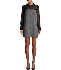 long-sleeve mesh shift dress